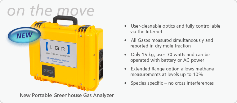Greenhouse Gas Analyzer (CH<sub>4</sub>,CO<sub>2</sub>,H<sub>2</sub>O)-Ultraportable